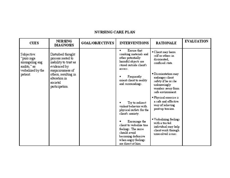 Nursing Care Plan Cues Nursing Diagnosis Goal/Objectives ...