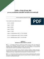 Lege 50 - 29.07.1991 - Privind Autorizarea Executarii Lucrarilor de Constructii - Mof 2004