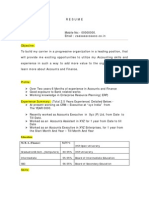 Accounts Resume Model Sample