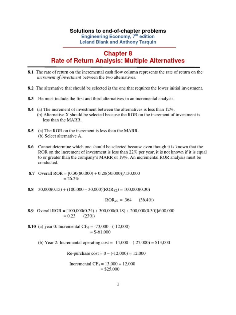 Chapter # 8 - Engineering Economy, 7 th editionLeland Blank and Anthony  Tarquin   Internal Rate Of Return   Spreadsheet