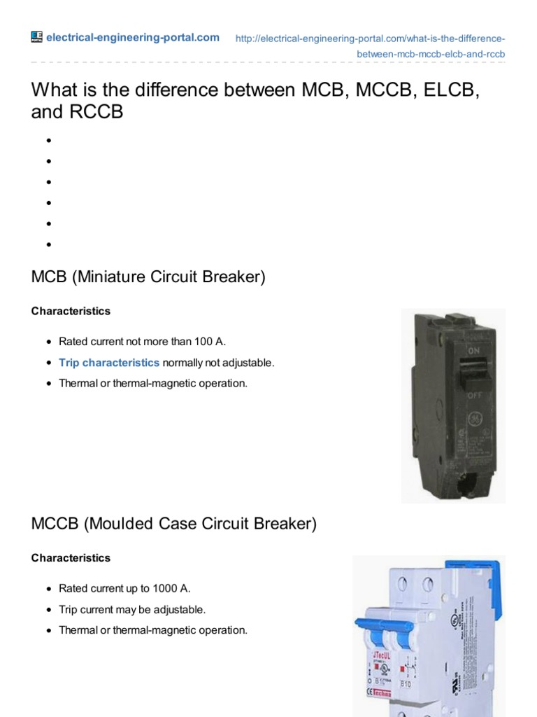 Electrical Engineering Portalcom What Is The Difference Between Mcb How Does A Residual Current Circuit Breaker Work Rccb Mccb Elcb And Fuse Equipment