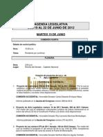 Agenda Legislativa - 19 al 22 de junio de 2012