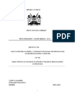 Parliamentary Report On KBC