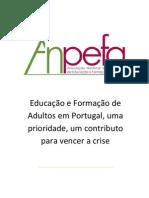 anpefa 2012_educação e formação de adultos em portugal, uma prioridade, um contributo para vencer a crise