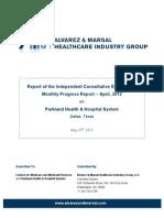 Parkland Memorial Hospital's monthy compliance progress report for April 2012