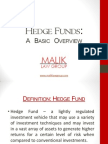 Hedge Funds. a Basic Overview