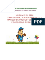 INEN_2266 TRANSPORTE, ALMACENAMIENTO Y MANEJO DE PRODUCTOS QUÍMICOS PELIGROSOS.  REQUISITOS.