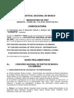 Convocatoria Mangostino de Oro - Corarte 2012