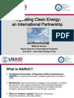 Matthew Gardner - Regulating Clean Energy an International Partnership
