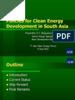 Priyantha Wijayatunga - Policies for Clean Energy Development in South Asia