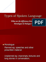 Types of Spoken Language L&S