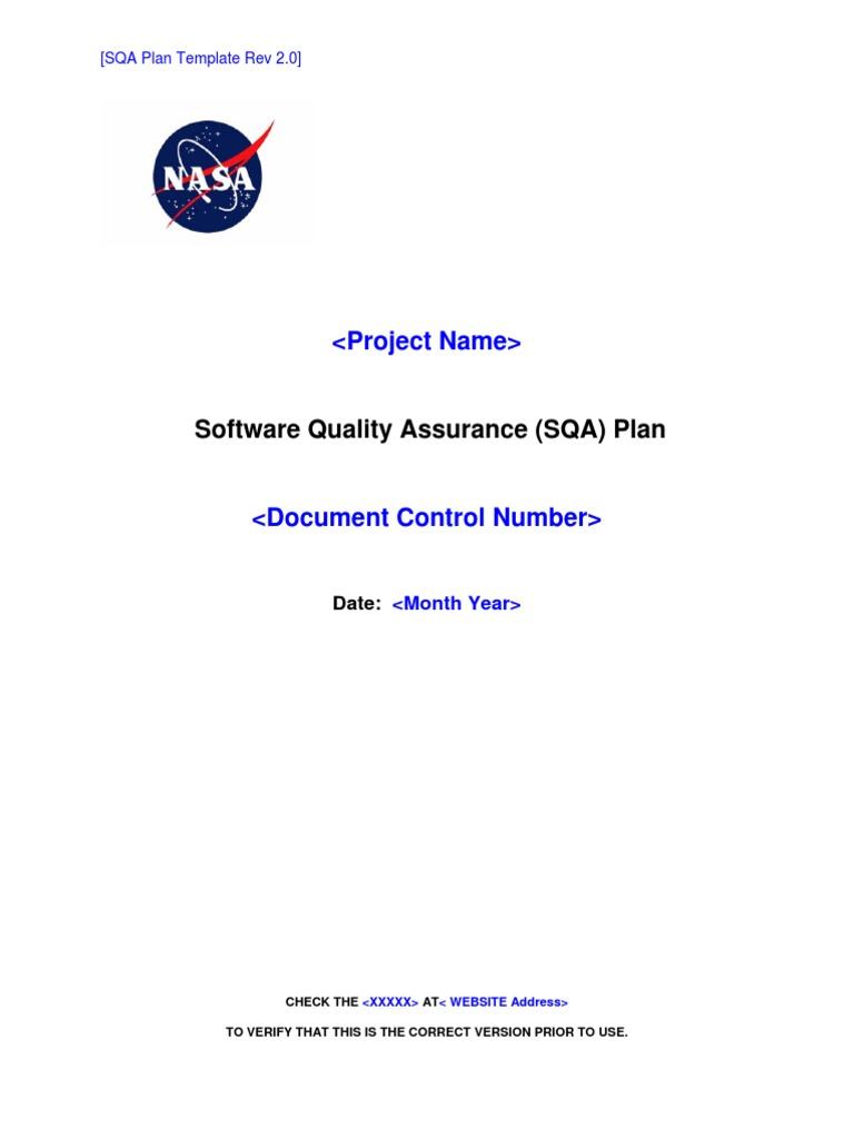 Nasa Software Quality Assurance Plan Reliability Engineering