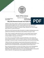 NJ Treasury Department's May 2012 Revenue Report