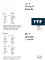 liturgical Calendar  of the year 2012
