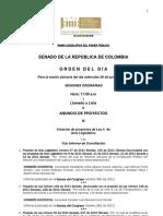 Plenaria Senado - Orden del día - 20 de junio de 2012