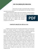 AMÉRICA DE COLONIZAÇÃO INGLESA