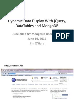 Mongo Datatables | Json | J Query