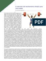 La Importancia de los ejercicios del levantamiento olímpico para el desarrollo de la Fuerza rápida