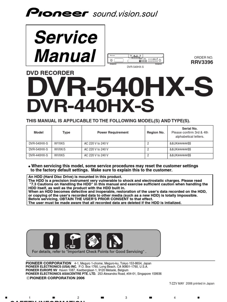 Pioneer Dvr 540hx, Dvr 440hx   High Definition Television   Consumer  Electronics