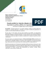 Senado prohíbe los viajecitos olímpicos de funcionarios /Aprobada la política pública de seguridad alimentaria(Aceleran el cambio hacia carros limpios)