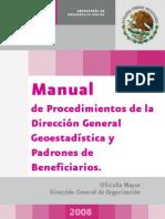 Manual de Procedimientos de la Dirección General de Geoestadística y Padrones de Beneficiarios
