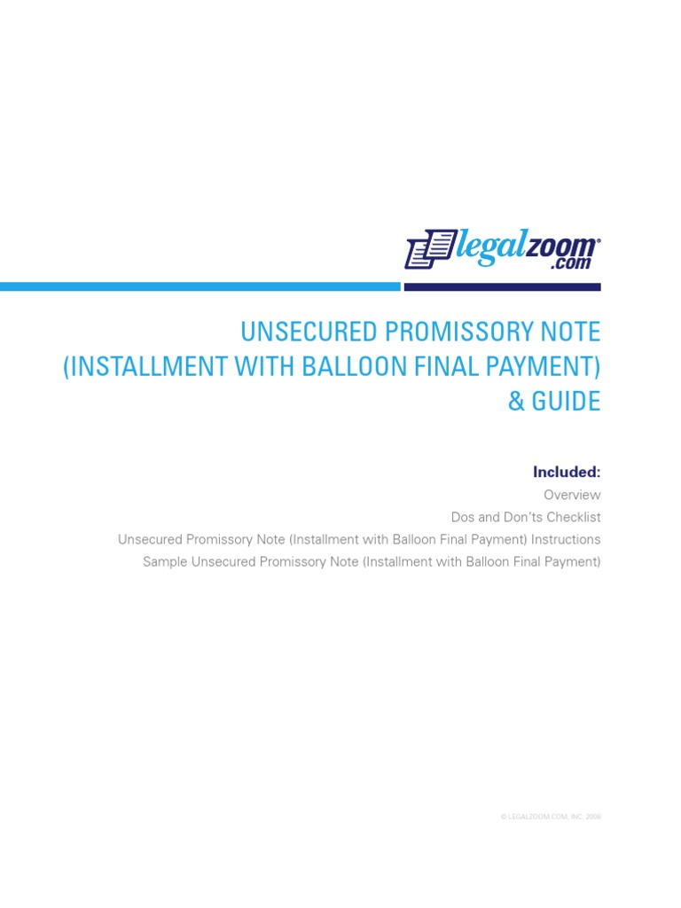 unsecured promissory note installment
