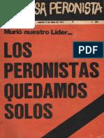 La causa Peronista. Revista Nº 1. Año 1, martes 9 de julio de 1974.