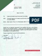 Senate Committee Prudence Response From Karen 3-2010