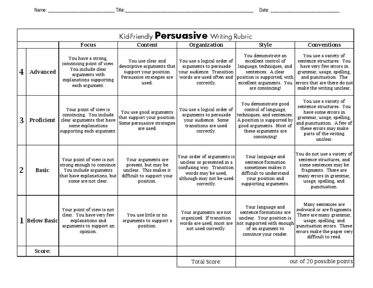 Rubric for essay doc