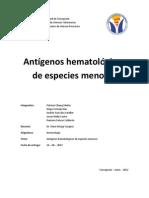 Antígenos hematológicos de especies menores