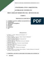 Apostila de Materiais de Construção P1 - SUAM - 2012.1