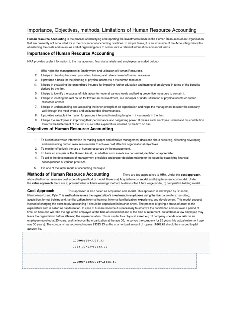 Importance objectives methods limitations of human resource accounting economies business economics