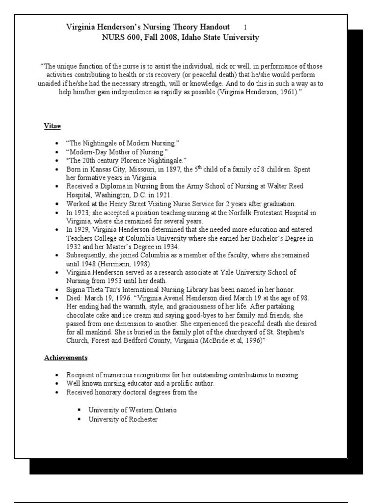 virginia henderson nursing theory application