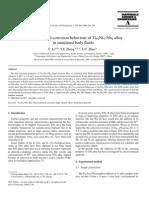 2006Electrochemical Corrosion Behaviour of Ti44Ni47Nb9 Alloy