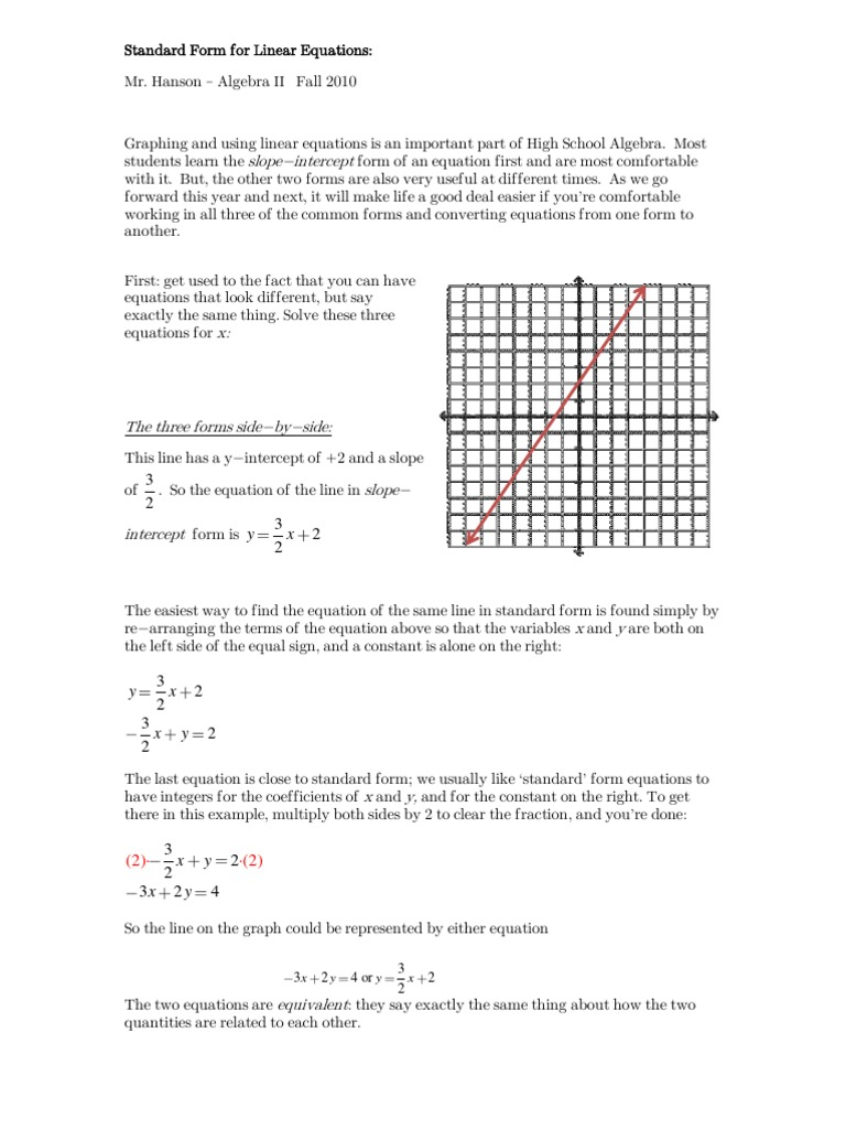 Standard Form For Linear Equations Equations Mathematical Analysis