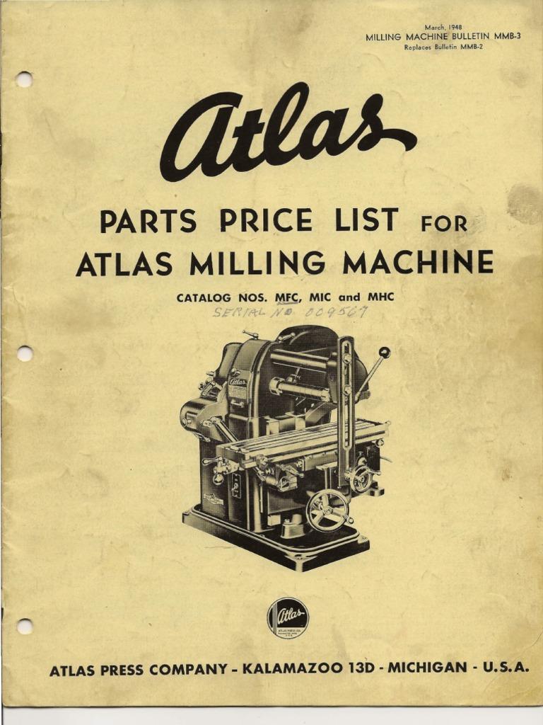 Atlas Milling Machine Belt Mechanical Screw