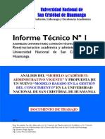 (P2) INFORME Nº 1 ANALISIS DEL MODELO ACADEMICO-ADMINISTRATIVO REESTRUCTURACIÓN UNSCH