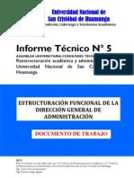 (P6) INFORME Nº 5 REESTRUCTURACIÓN DE LA DIRECCIÓN DE ADMINISTRACIÓN 2012
