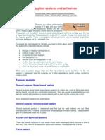 Gun Applied Sealants and Adhesives