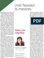 Emili Teixidor i els mestres, article publicat a El 3 de vuit, 21 de juny de 2012