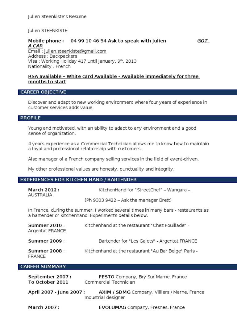 resume australia exp client computing
