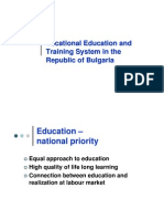 Vocational Education and Training System in the Republic of Bulgaria