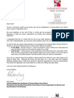Letter to Parents in Saxmundham and Surrounding Areas