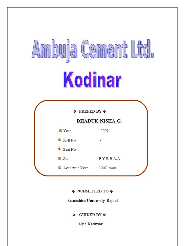 Ambuja Cements Limited : Ambuja cement ltd