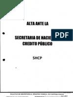 Alta Ante La Secretaria de Hacienda y Credito Publico