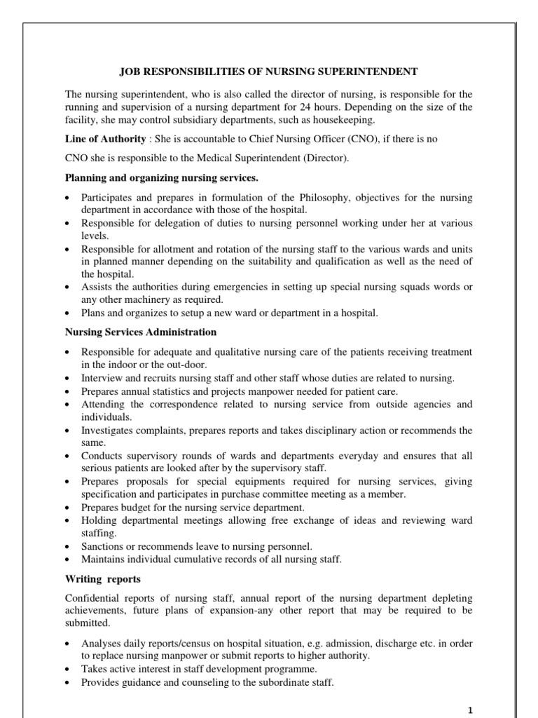 job responsibilities of Nursing Superintendent   Nursing   Hospital