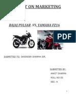 Project-On-Marketing Bajaj Pulsar vs Yamaha Fz