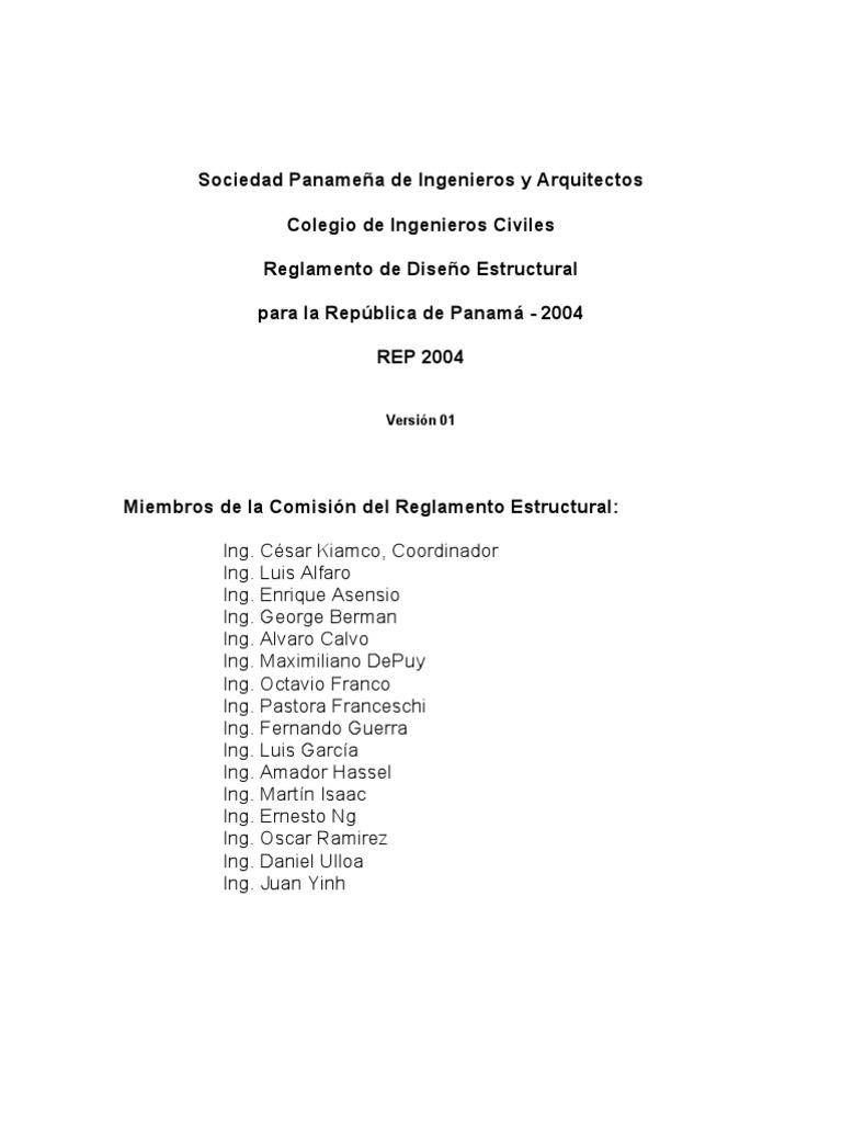 Rep 2004 Reglamento Dise O Estructural Panama