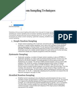 Types of Random Sampling Techniques | Sampling (Statistics