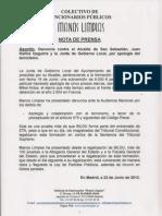 Nota de Prensa y Denuncia Alcalde San Sebastian